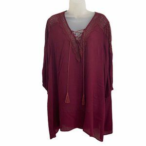 Suzanne Betro 1X Blouse Peasant Top Maroon Rayon